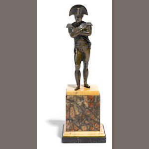 A French patinated bronze figure of Napoleon . late 19th century