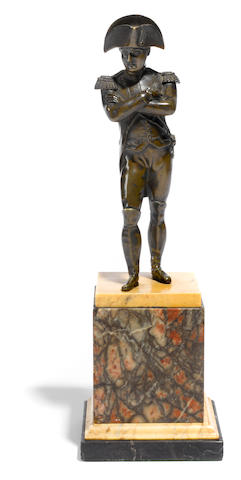 A French patinated bronze figure of Napoleon <BR />late 19th century