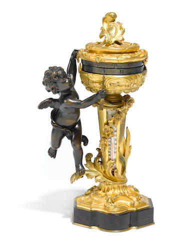 A French gilt and patinated bronze rotary clock with thermometer <BR />late 19th century