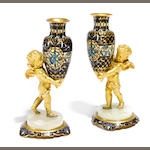 A pair of French gilt bronze and champlevé bud vases <BR />late 19th/early 20th century