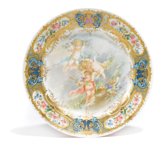 A Sèvres style porcelain plate  early 20th century