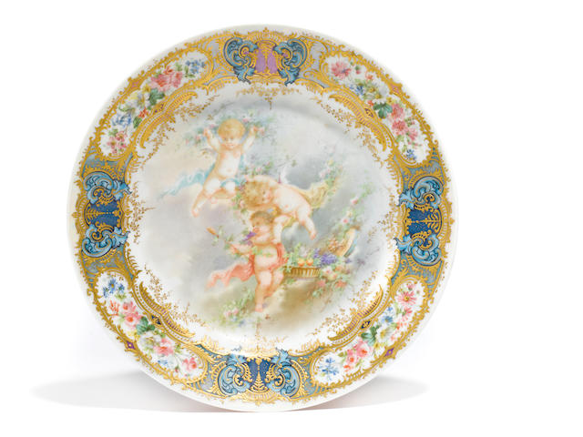 A Sevres style porcelain plate <BR />early 20th century