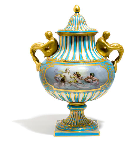 A Sèvres style porcelain covered urn <BR />late 19th century