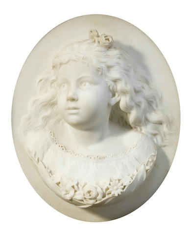 A Continental carved marble relief plaque of a young girl