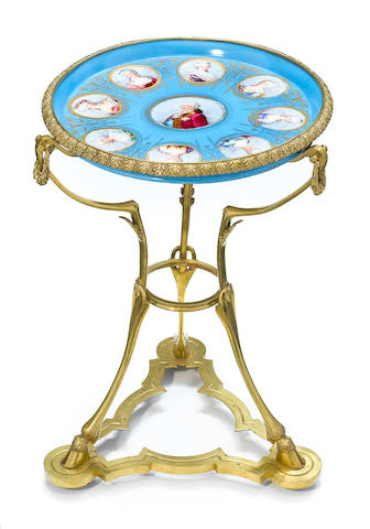 A Sèvres style porcelain and gilt bronze gueridon <BR />circa 1900