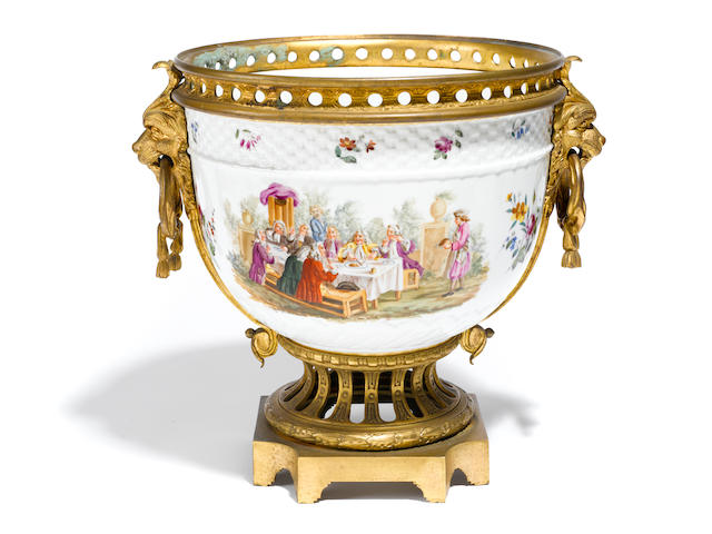 A German porcelain gilt bronze mounted center bowl <BR />late 19th century