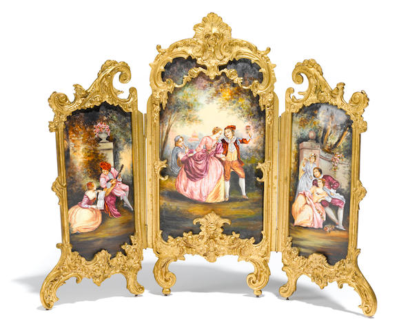 A Louis XV style gilt bronze and enamel miniature three fold floor screen <BR />early 20th century