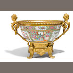 A Canton porcelain and gilt bronze mounted centerpiece <BR />late 19th century