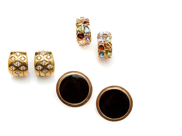 A collection of three pairs of diamond, gem-set and gold earrings