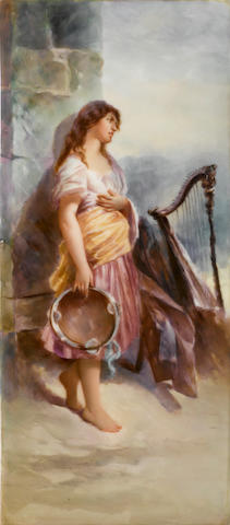 A French porcelain plaque of a gypsy girl