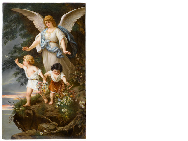 A K.P.M. (Berlin) porcelain panel of a guardian angel and two children