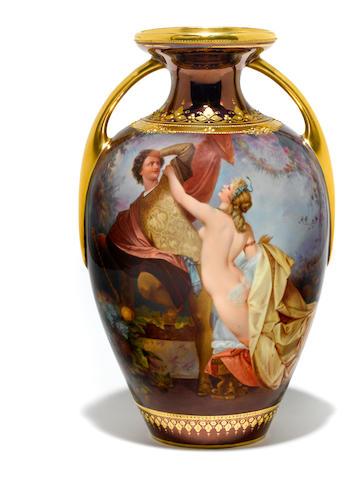 A Vienna style porcelain vase
