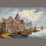 A French porcelain panel depicting a view of Amsterdam