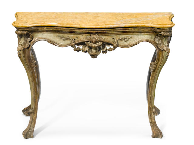 An Italian Rococo console table with sienna marble top