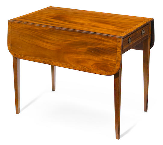 A George III yew wood crossbanded mahogany pembroke table <BR />fourth quarter 18th century