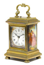 A Swiss brass and enamel carriage clock