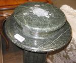 A Romanesque style verde antico marble columnar pedestal<BR />early 20th century