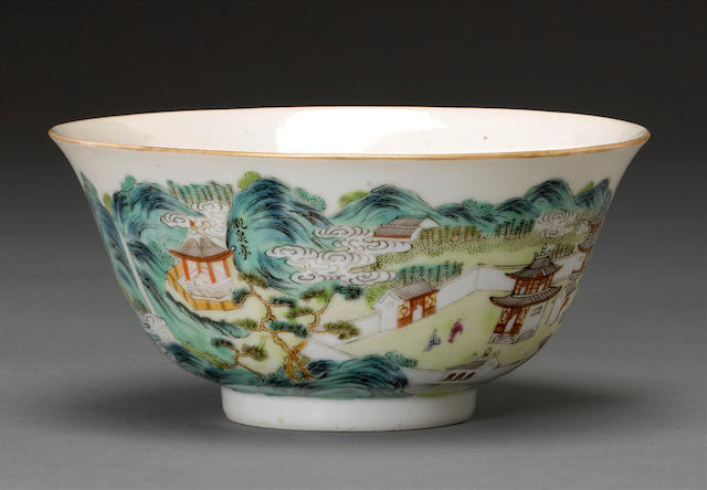 A polychrome enameled porcelain landscape bowl Republic period