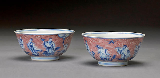 A pair of underglaze blue and copper red Eight Immortals bowls Yongzheng marks, Republic period