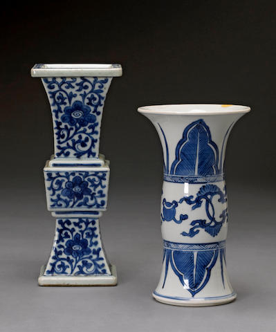 Two blue and white porcelain gu-form vases