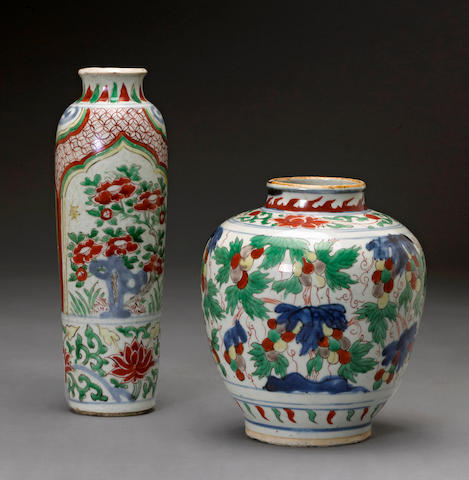 Two wucai glazed porcelain vessels Transitional period