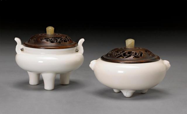 Two Dehua porcelain tripod censers 18th century