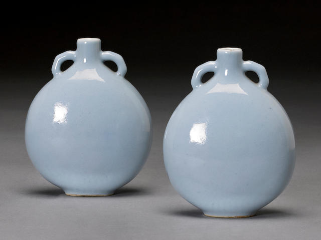 A pair of claire-de-lune glazed porcelain miniature moon flasks Qianlong marks, Republic period