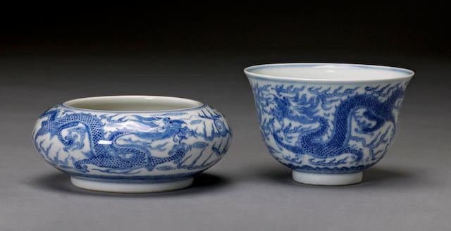 Two blue and white porcelain vessels Tongzhi marks