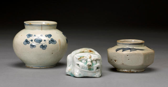 Two small blue and white porcelain jars 19th century