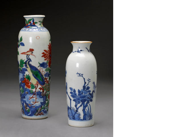 Two small porcelain sleeve vases Transitional period