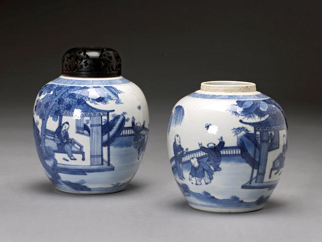 Two blue and white porcelain ovoid jars Kangxi marks, 19th century