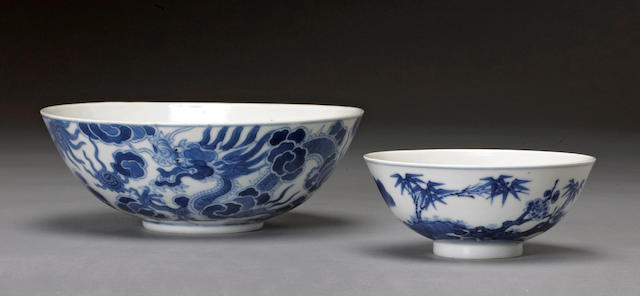 Two blue and white porcelain bowls 19th century