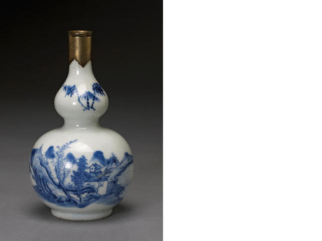 A blue and white porcelain double gourd vase 18th century