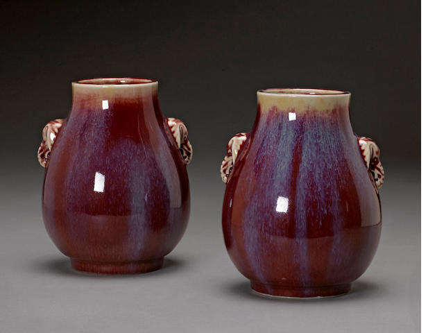 A pair of transmutation red glazed porcelain vases Republic period