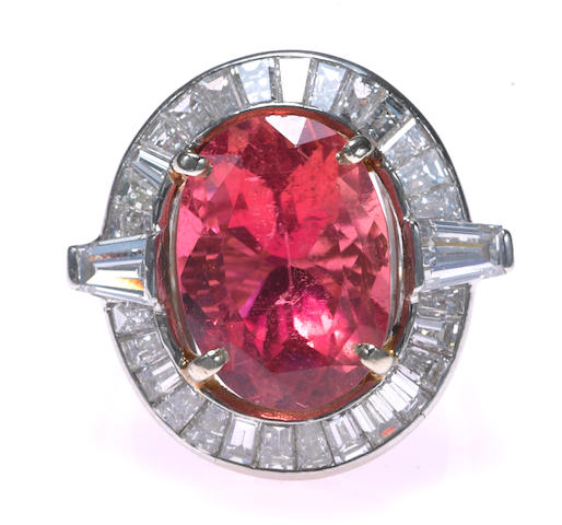 A pink tourmaline, diamond and platinum ring