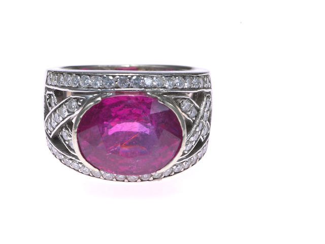 A pink tourmaline and diamond ring