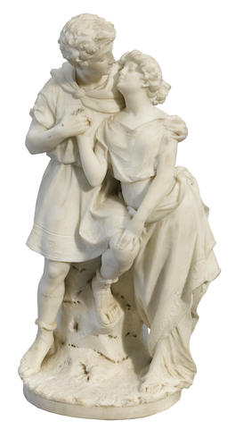 An Italian carved marble figural group  late 19th century