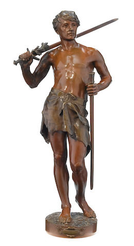 A French patinated bronze figure: Vainqueur  after a model by Jean-Jules Cambos (French, 1828-1885) late 19th century