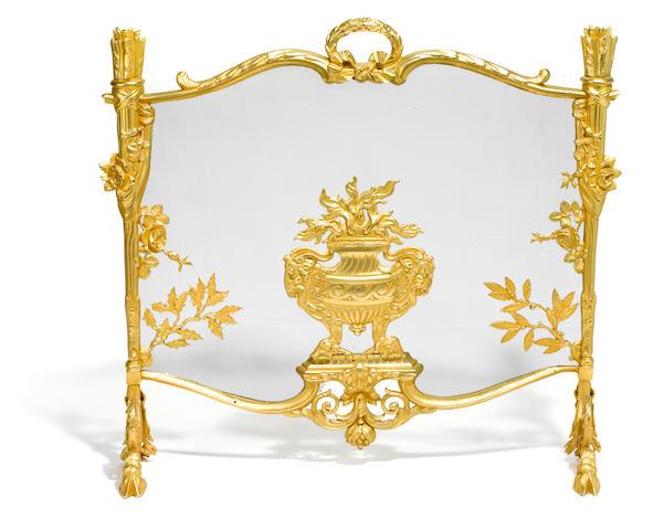 A French gilt bronze fire screen