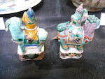 Two famille verte enameled export porcelain Central Asian equestrian figures Kangxi period