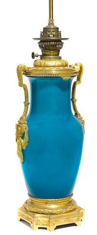 A Louis XVI style gilt metal mounted porcelain baluster vase <BR />late 19th/early 20th century