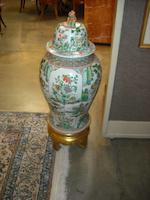 A massive pair of Chinese famille verte enameled porcelain covered vases 20th century