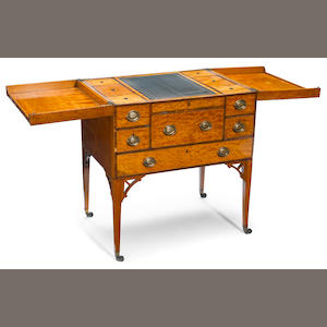 A George III rosewood inlaid satinwood gentleman's dressing chest . fourth quarter 18th century
