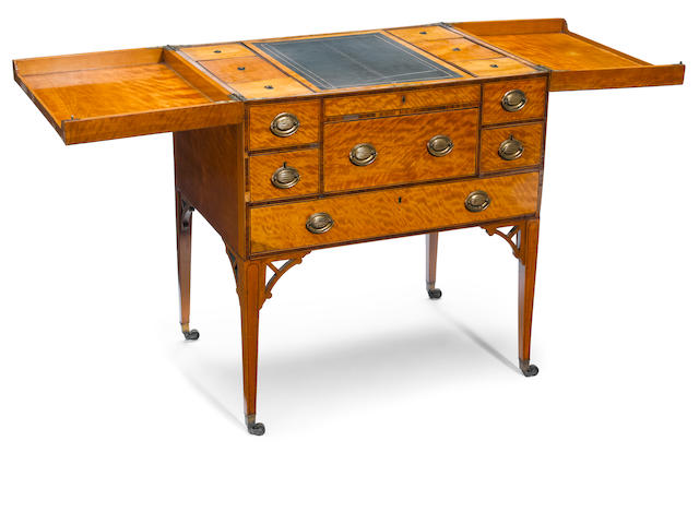 A George III rosewood inlaid satinwood gentleman's dressing chest <BR />fourth quarter 18th century
