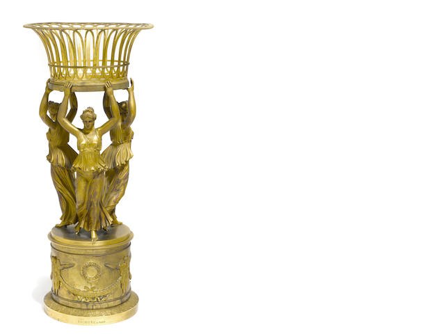 A French gilt bronze surtout de table <BR />stamped Thomire a Paris<BR />first half 19th century