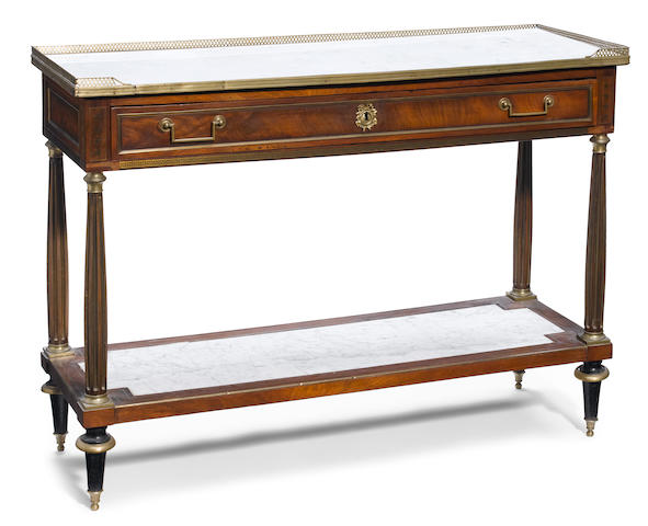 A Louis XVI brass inlaid mahogany console desserte <BR />fourth quarter 18th century