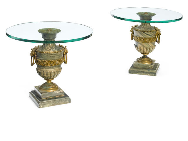A pair of good quality Louis XVI style gilt bronze mounted marble urns  <BR />late 19th century