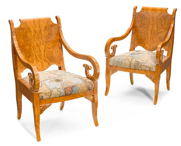 A pair of Neoclassical style parcel gilt birch armchairs