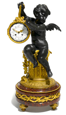 A good French gilt and patinated bronze and marble mantel clock <BR />Deniere à Paris<BR />second half 19th century