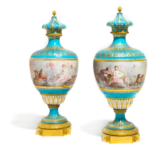 A pair of Sèvres style gilt bronze mounted porcelain vases